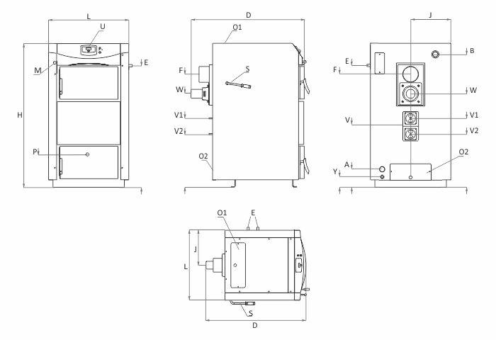Технически характеристики на Пиролизен котел BURNiT PyroBurn Alpha Plus