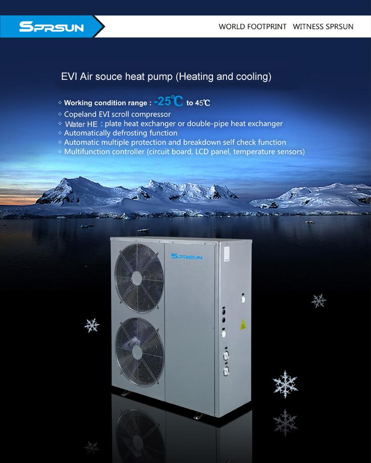 Термопомпа Серия въздух вода - EVI отопление и Охлаждане до -25 градуса