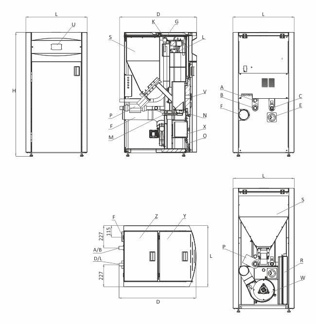 Технически характеристики на Пелетен котел BURNiT Pell Easy 20 KW
