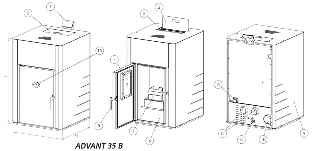 Пелетна камина BURNiT Advant B35