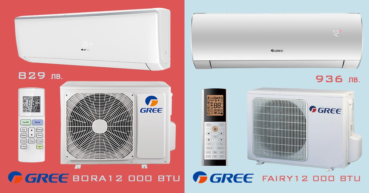 Промоция на инверторен климатик Gree Bora или Fairy с доставка и монтаж