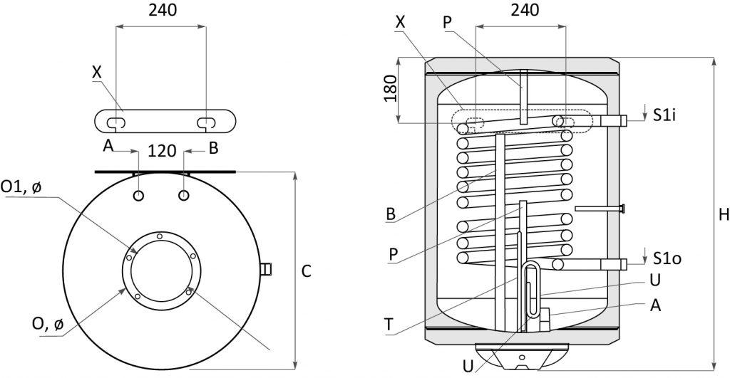 Вертикални модели - Битови бойлери MB S1 – с една серпентина