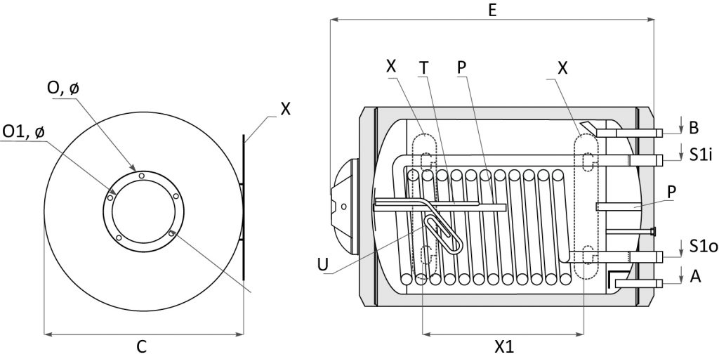 Хоризонтални модели - Битови бойлери MB S1 – с една серпентина