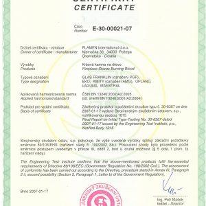 Чугунена Камина Plamen Maestral N 9kW - Сертификат