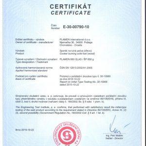 Сертификат Готварска печка Plamen 850 Glas 11kW