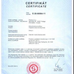 Сертификат Чугунена Камина Plamen Amity 3 11kW