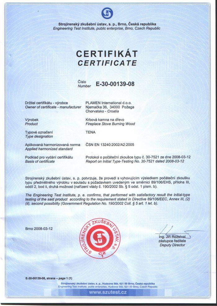 Сертификат Tena