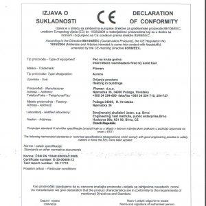 Декларация за съответствие Чугунена печка Plamen Aurora 11kW